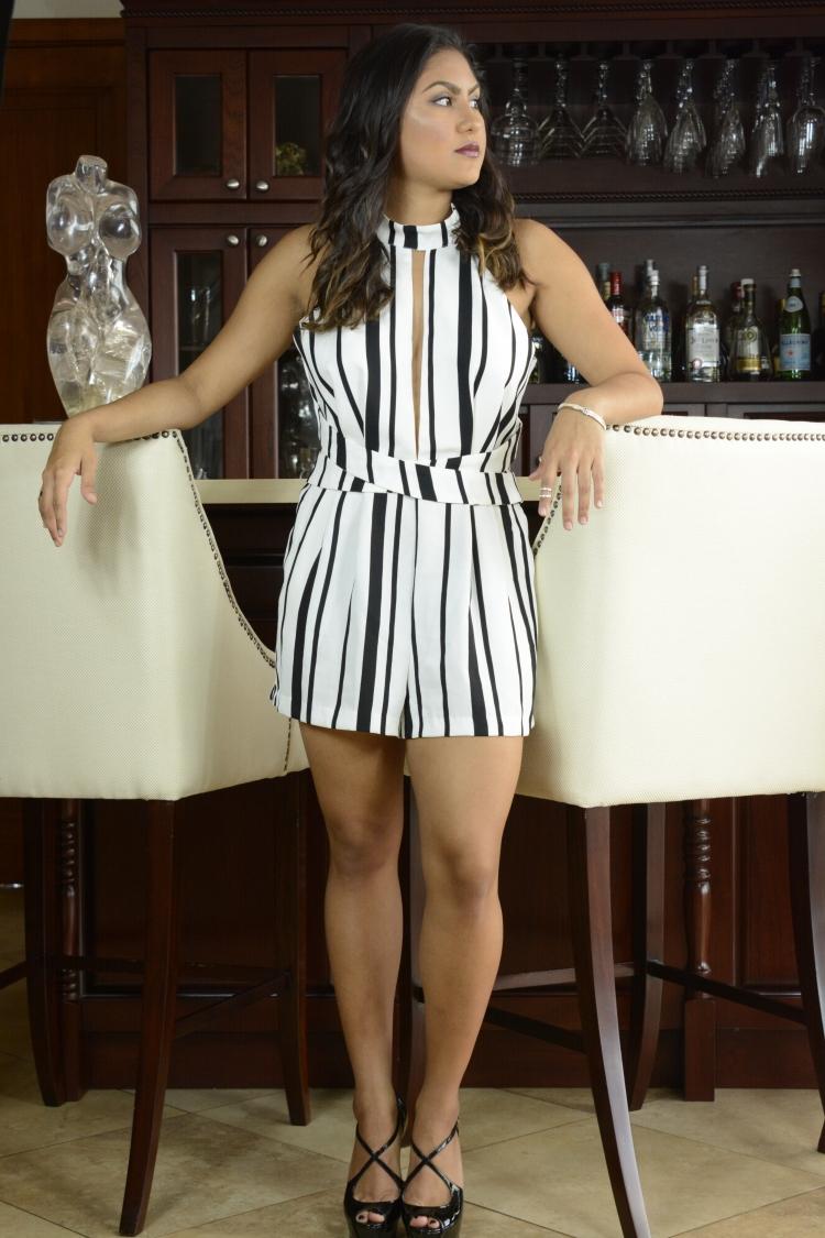 Black and White party romper fashion - angulo28blog